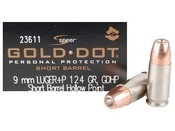 Speer 9mm Luger +P 124gr GDHP Short Barrel - 20 rd Box